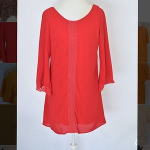 Everly Dresses & Skirts - Red Lace Shift Dress