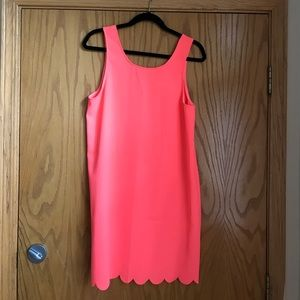 Everly Dresses & Skirts - Hot pink shift dress with scalloped detailing