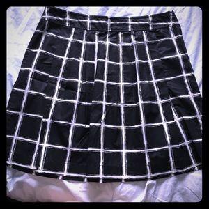 MICHAEL Michael Kors Windowpane Pleated Skirt 14p