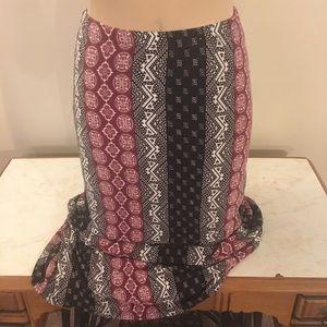 Darling Gypsy Boho Tribal Print Maxi Long Skirt S