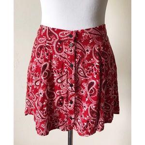 Forever 21 Dresses & Skirts - Forever21 Red Paisley Banana Print Skirt