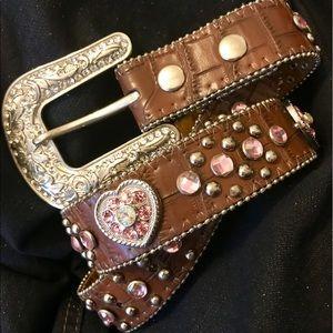 Other - Girls Alligator Print Belt wPink Crystal 💕s