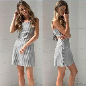 NWT trendy striped open back dress