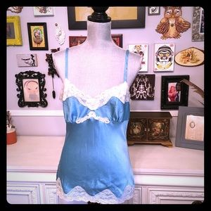 Express Blue Silky cami with lace