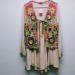 Peasant Smock Tunic With Vintage Crocheted Vest