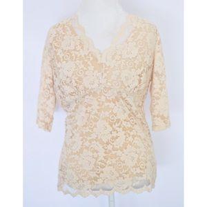 CAbi Cream Lace Top