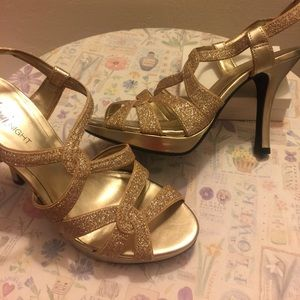 Fioni Night Sparkly Gold Strappy Heels