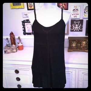 Black tunic tank with leather straps