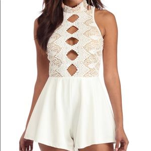 Blossom Dresses & Skirts - White Lace Cutout Romper
