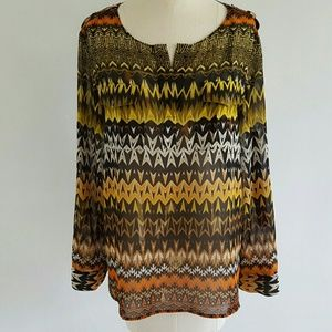 VINCE CAMUTO graphic blouse