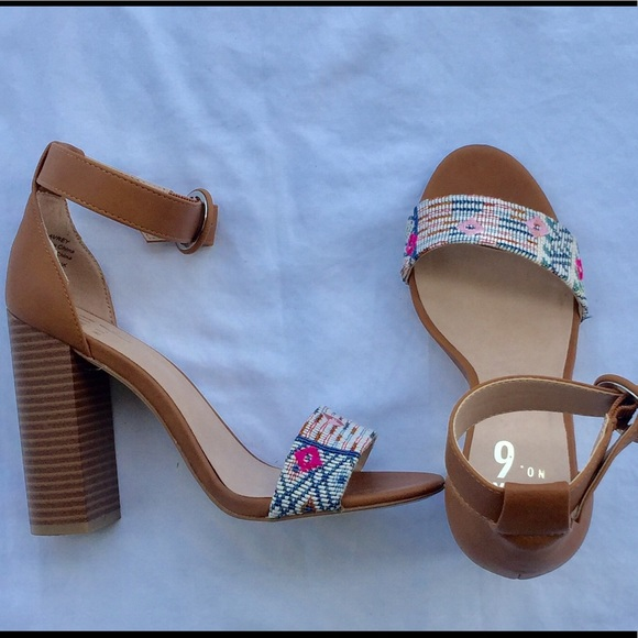 25 mix no 6 shoes cognac block heels with colorful