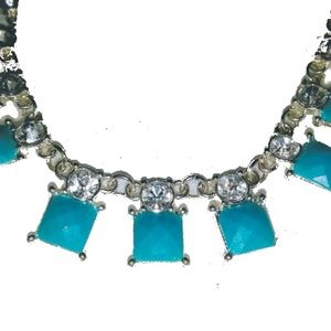 Jewelry - Silver necklace with diamonds and turquoise stones