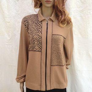 Teddi Jackets & Blazers - Vintage Teddi Zip up Animal Print Jacket