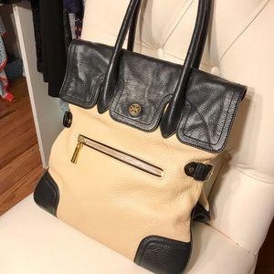 Tory Burch Handbags - Tory Burch Beige and Black Kid Leather Handbag
