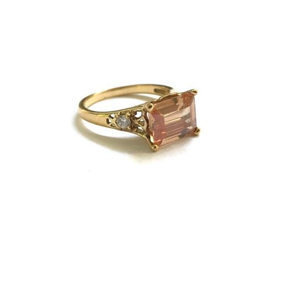 Jewelry - Emerald Cut Orange   Clear Swarovski Crystal Ring 1b50ec05e0
