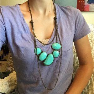 ❤️ Long Turquoise Necklace & Elephant Earrings