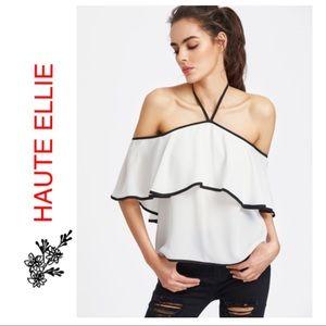 Haute Ellie Tops - 🆕 Black & White Contrast Ruffle Off Shoulder Top