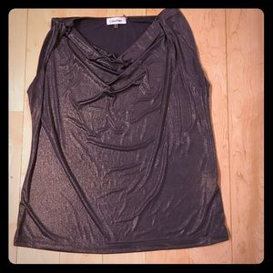 Calvin Klein brown and gold cowl top size large