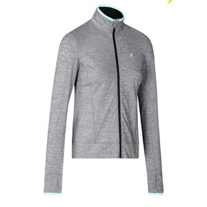 Grey and blue running jacket