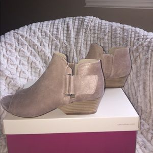 "🆕Naturalizer Tan Suede Open Toe Bootie 1.5"" Heel"