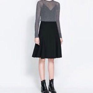 Zara Dresses & Skirts - NWT [ZARA] Knit Black High Waist A Line Skirt