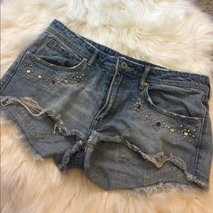 H&M Pants - H&M distressed and bedazzled jean shorts size 12