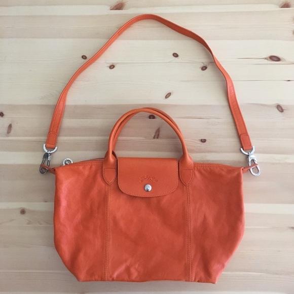 Longchamp Le Pliage Cuir - Orange - Size S