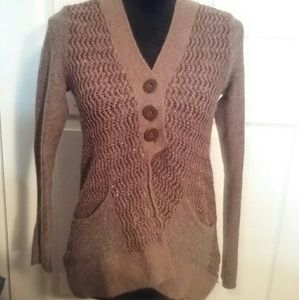 Free People Sweaters - Free people brown sparkly sweater/cardigan