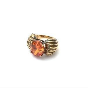 Gold Plated Sterling Silver Ring Orange CZ Center