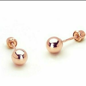 Jewelry - Solid 14k Rose Gold Stud Earrings 4mm Round