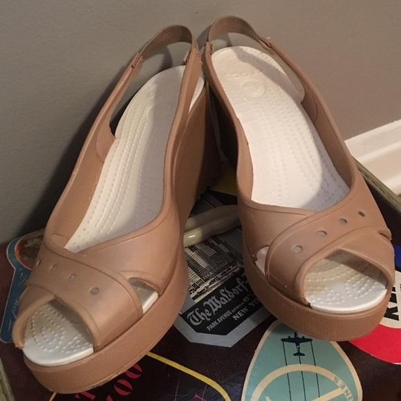 73b47fb4257d5 CROCS Shoes | Golden Coast Glam Farrah Wedge Sandals | Poshmark