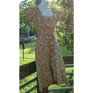 Vintage 50's-60's gold dress with overskirt