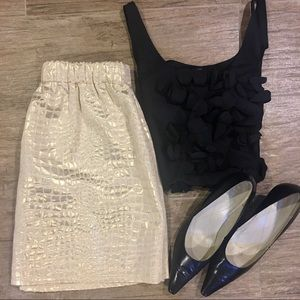 Pim + Larkin : Gold Mini Skirt