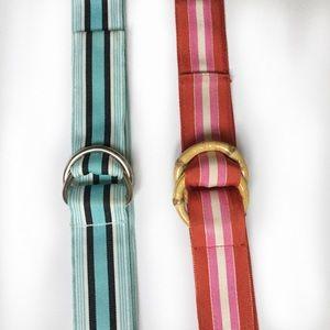 2 grosgrain ribbon belts.