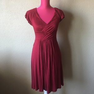 Anthropologie Dresses & Skirts - Anthropologie Velvet Red Criss-cross Jersey Dress