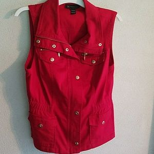 INC red utility zipper vest with pockets
