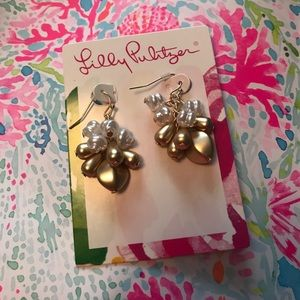 Lilly Pulitzer Gold and Pearl Dangle Earrings