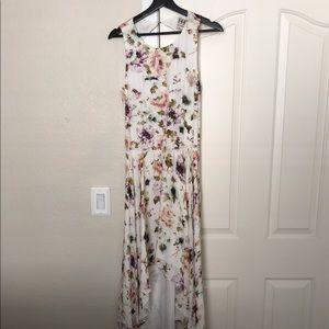 Haute Hippie Floral Cowlback Silk Dress