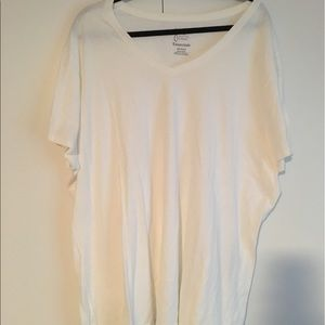 Just My Size Tops - Just My Size Size 4X V-neck White Tee