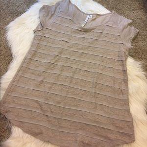 LC Lauren Conrad Tops - lauren conrad lace striped tshirt size M