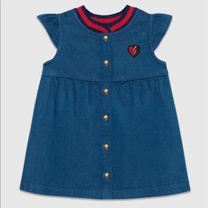 Other - Girls GUCCI denim dress with Embroidered heart