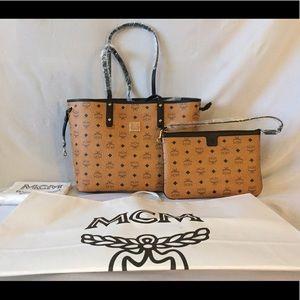 MCM Handbags - MCM Anya Logo Zip Medium Shopper Tote - Cognac