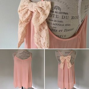 Peach Love California Tops - NWOT Peach-pale pink tank with lace bow
