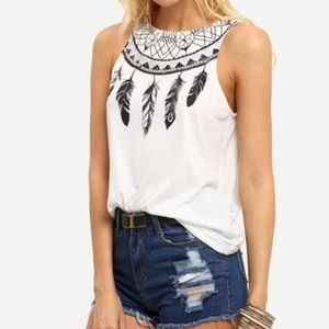 Feather Print Tank Top. Price Firm.