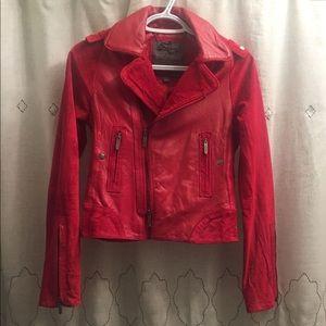 Zac Posen Jackets & Blazers - Zac Posen Red Leather and Suede Moto Jacket s XS