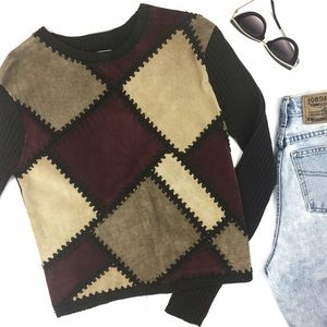 Vintage J. Marco Suede Leather Patch Sweater Top