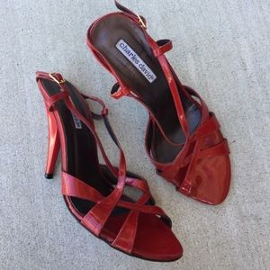 Charles David Shoes - Charles David red leather strappy heels size 8