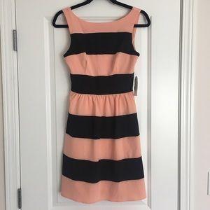 Peach and black striped dress