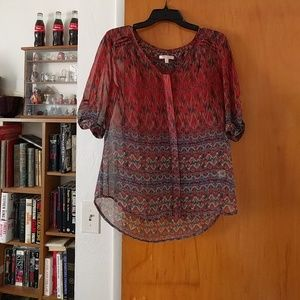 Skies Are Blue Tops - Skies Are Blue Festival Flowy Blouse