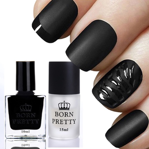 Glossy black nail polish and matte top coat set Boutique